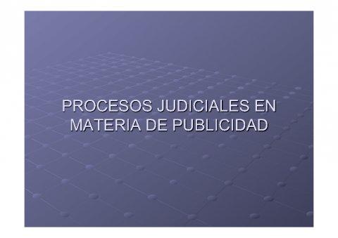Procesos xudiciais en materia de publicidade - Curso de especialización en Dereito da Publicidade